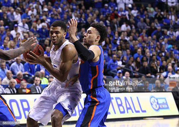 March 13 2015 Kentucky Wildcats guard Andrew Harrison drives to the basket during the 2015 SEC Men's Basketball Tournament game between Kentucky and...