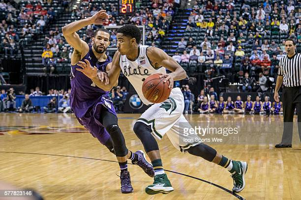 Michigan State Spartans guard Gary Harris battles with Northwestern Wildcats guard/forward Drew Crawford during the Big Ten Men's Basketball...