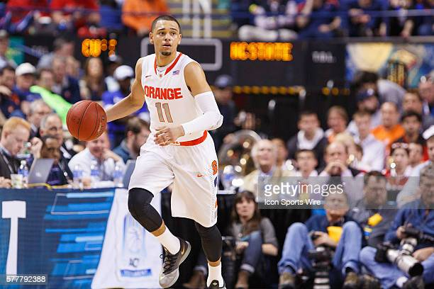 Syracuse Orange guard Tyler Ennis dribbles up the court during the ACC 2014 basketball tournament game between Syracuse Orange and North Carolina...