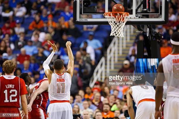 Syracuse Orange guard Tyler Ennis makes a free through during the ACC 2014 basketball tournament game between Syracuse Orange and North Carolina...