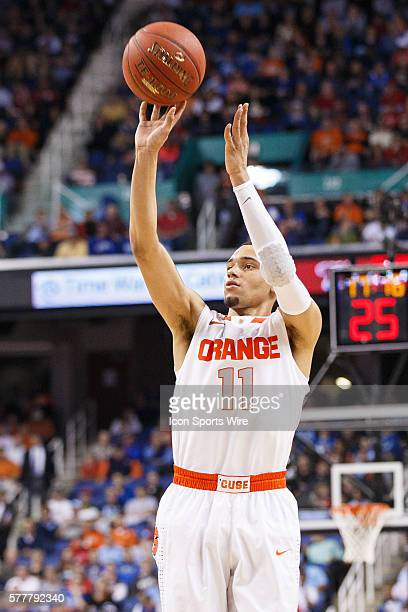 Syracuse Orange guard Tyler Ennis shoots the ball during the ACC 2014 basketball tournament game between Syracuse Orange and North Carolina State...