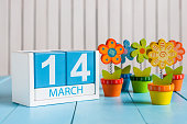 March 14th. Image of march 14 wooden color calendar with flower on white background.  Spring day.