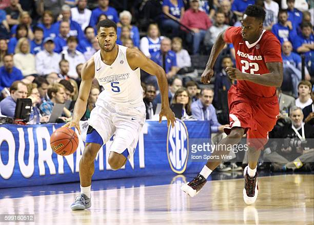 March 15 2015 Kentucky Wildcats guard Andrew Harrison brings the ball up court during the 2015 SEC Men's Basketball Championship finals between...