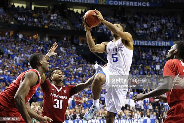 March 15 2015 Kentucky Wildcats guard Andrew Harrison drives the open lane during the 2015 SEC Men's Basketball Championship finals between Kentucty...
