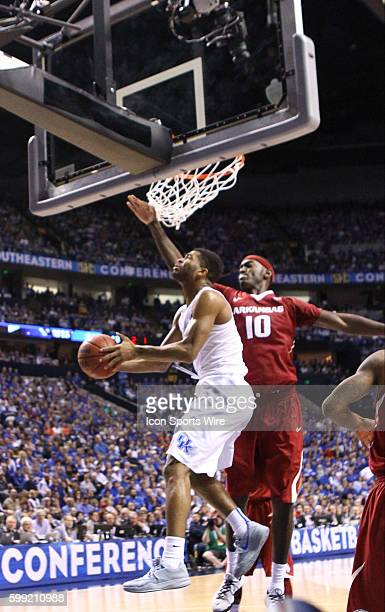 March 15 2015 Kentucky Wildcats guard Andrew Harrison goes in for a reverse lay up during the 2015 SEC Men's Basketball Championship finals between...