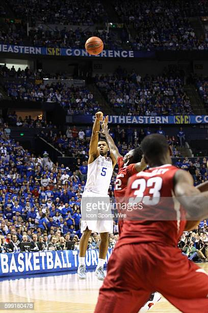 March 15 2015 Kentucky Wildcats guard Andrew Harrison puts up a 3 pointer during the 2015 SEC Men's Basketball Championship finals between Kentucty...