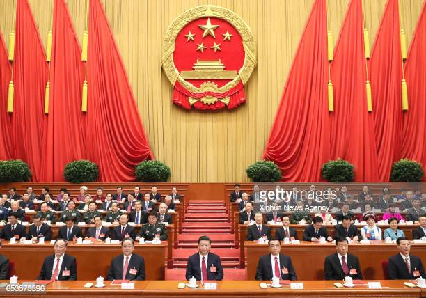 BEIJING March 15 2017 Top Communist Party of China and state leaders Xi Jinping Li Keqiang Yu Zhengsheng Liu Yunshan Wang Qishan and Zhang Gaoli...