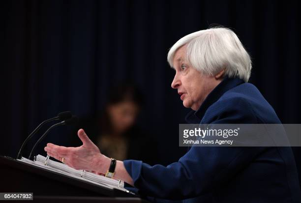 US Federal Reserve Chair Janet Yellen speaks during a news conference in Washington DC capital of the United States on March 15 2017 US Federal...