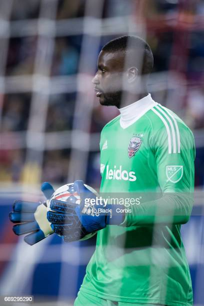DC United Goalkeeper Bill Hamid regroups with the ball before putting it into play during the Soccer MLS New York Red Bulls vs DC United on April 15...