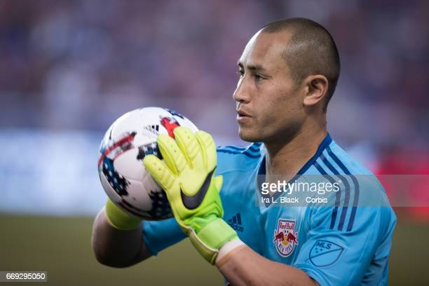 New York Red Bulls Goalkeeper Luis Robles warms up by taking a few passes before the Soccer MLS New York Red Bulls vs DC United on April 15 2017 at...