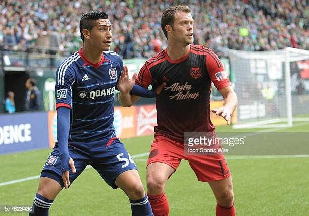 March 16 2014 Chicago Fire M Benji Joya battles Portland Timbers M Jack Jewsbury for position during a Major League Soccer game between the Portland...