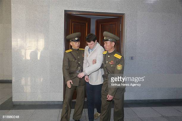 PYONGYANG March 16 2016 American student Otto Frederick Warmbier center is escorted out of the courtroom after his trial in Pyongyang capital of the...