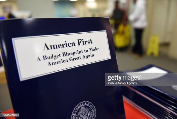 WASHINGTON March 16 2017 Copies of US President Donald Trump administration's first budget blueprint are seen in Washington DC the United States on...