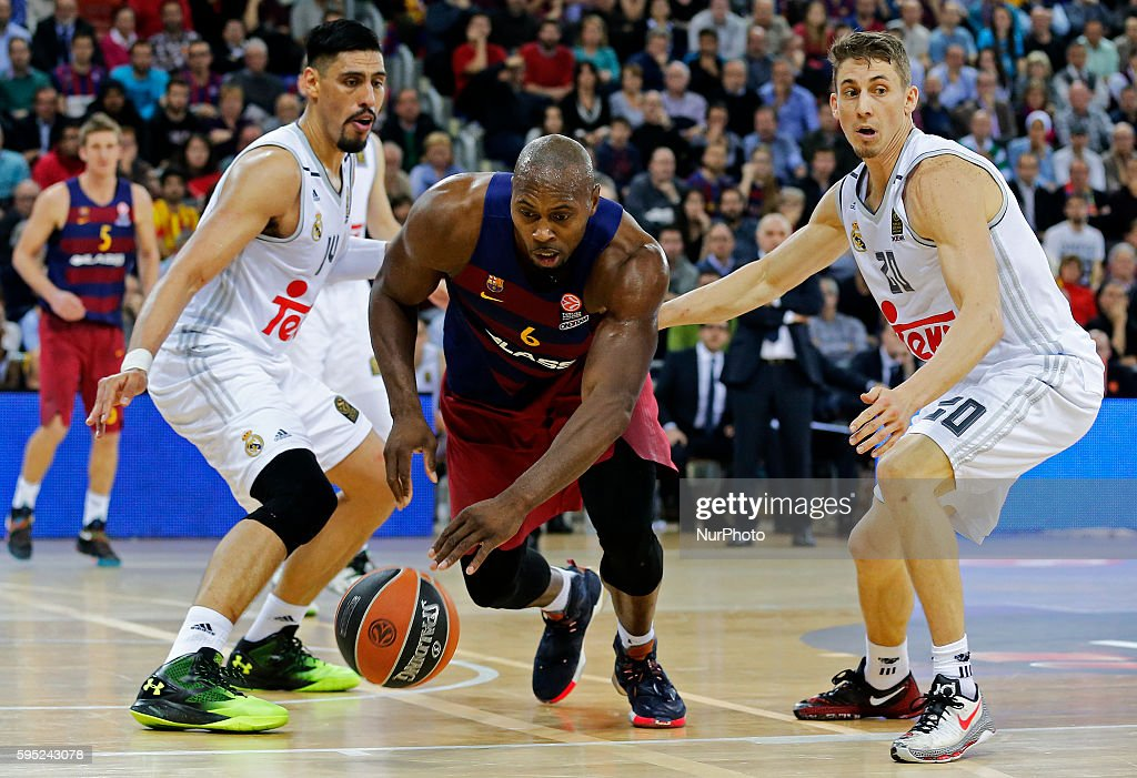 Joey Dorsey and Gustavo Ayon during the match between FC Barcelona and Real Madrid corresponding to the week 11 of the Top 16 of the Euroleague...