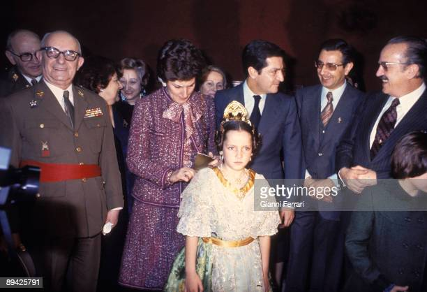 March 19 1977 Valencia Spain Government president Adolfo Suarez with his wife Amparo Illana and his daughter Sonsoles dressed as fallera in Las...
