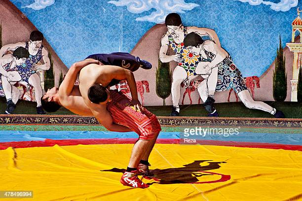 March 19 Baku Boulevard Baku Azerbaijan As part of a Novruz ceremony these men are competing in a wrestling match The history of Novruz in Azerbaijan...
