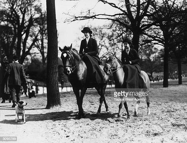 The Misses Cavendish daughters of Lady Moyra Cavendish out riding in London's Hyde Park