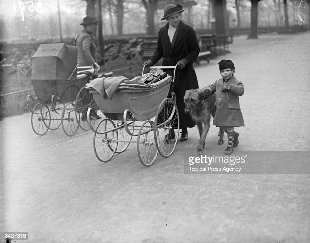 A nurse walks her young charge and a large dog in a London park