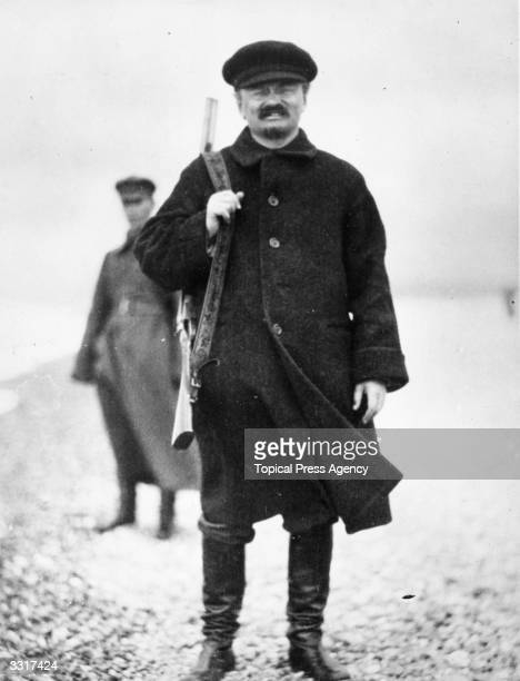 Jewish revolutionary and Russian Commissar for War Leon Trotsky sets out for a days hunting in the Caucasus