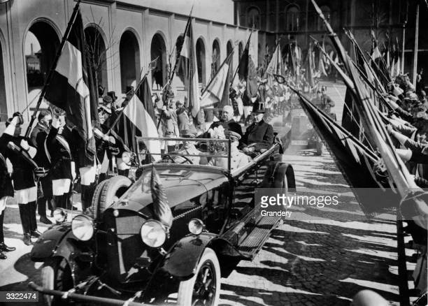President Hindenburg of Germany driving through the streets of Cologne with the Burgomaster Dr Konrad Adenauer