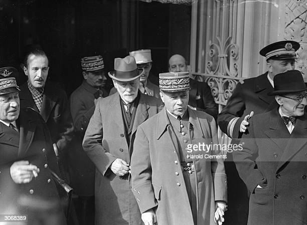 Commander in chief of the French and British armies on the western front Maurice Gustave Gamelin leaves the Carlton Hotel in London after a war...