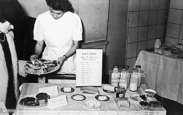 A display of food shows the rations allowed for two adults for one week