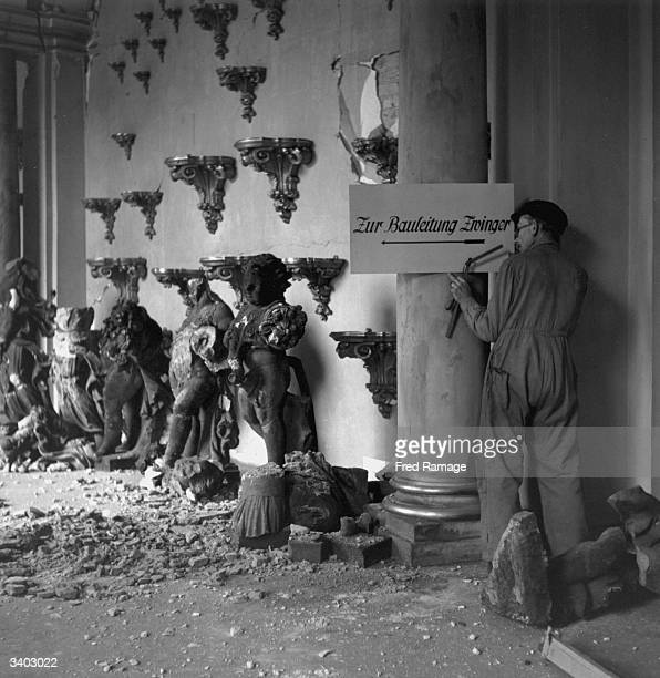 Work continues on the restoration of the Zwinger Gallery that was damaged during the severe carpet bombing of Dresden by the Allied forces Busts and...