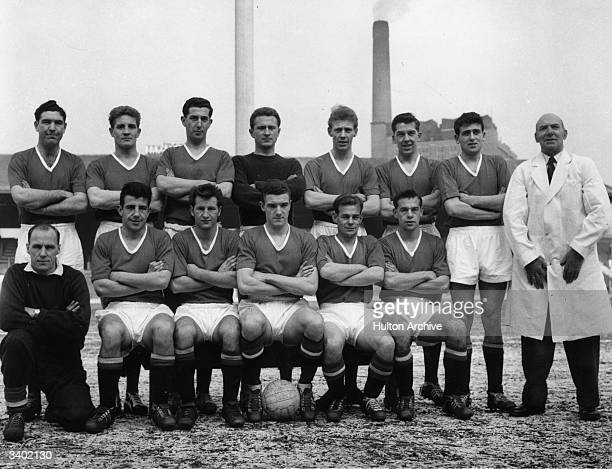 The Manchester United Football Club squad of 1958 From the back row and from left to right are Bobby Harrop Ian Greaves Freddie Goodwin Harry Gregg...
