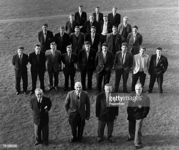 The remaining Manchester United officials and players pictured soon after the tragic Munich air crash Front row leftright Joe Armstrong Bill Inglis...