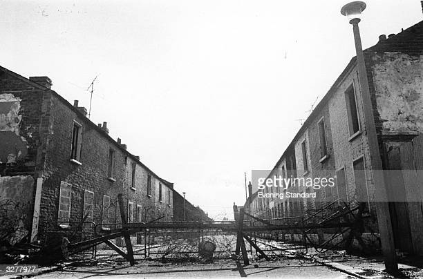 A barricade crossing the sectarian divide in Belfast