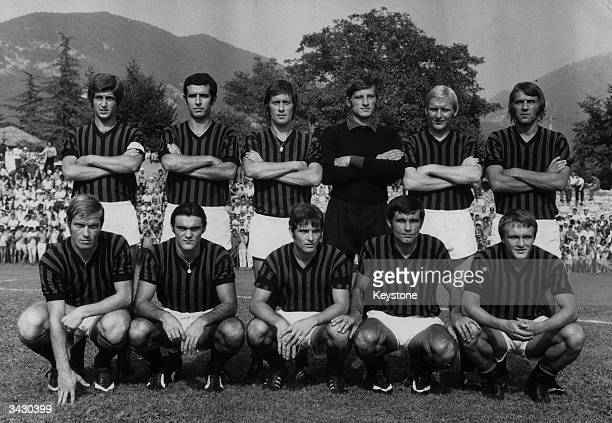 Members of the Italian football team AC Milan Gianni Rivera Bigon Rosato Belli Schnellinger and Prati Benetti Sabadini Biasiolo Anquilletti and...