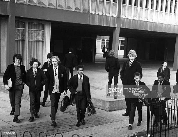 Pupils leaving Henry Thornton Comprehensive School Clapham Common south London