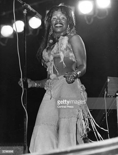 Soulfunk diva Chaka Khan of the pop group Rufus And Chaka Khan performing live on stage in 1975