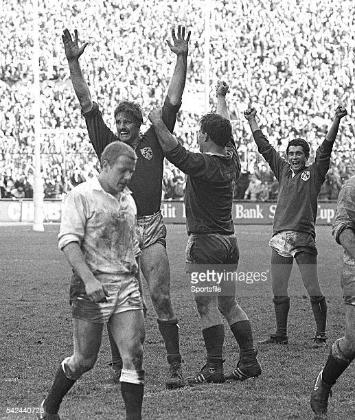 30 March 1985 Ireland players Willie Anderson left Jim McCoy and Michael Bradley celebrate winning the Triple Crown at the final whistle Five Nations...