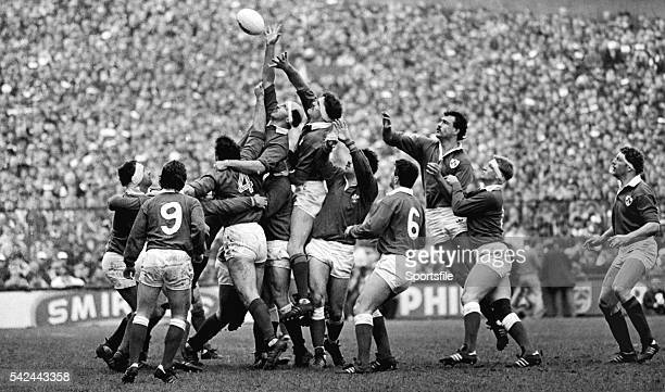 5 March 1988 Willie Anderson Ireland contests a lineout with Philip May Wales Five Nations Rugby Championship Ireland v Wales Lansdowne Road Dublin...