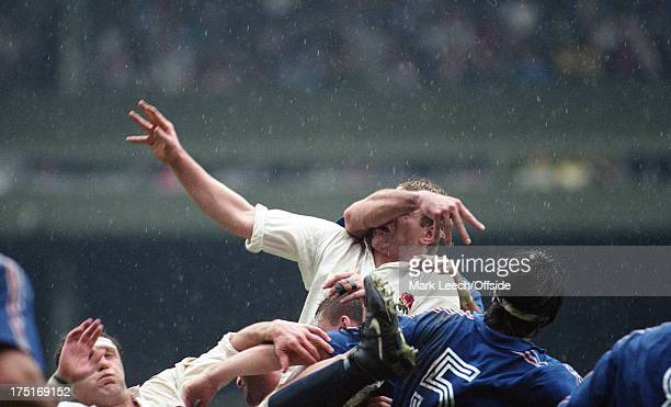 16 March 1991 5 Nations Rugby England v France Dean Richards receives the arm of a French forward in his face at a lineout