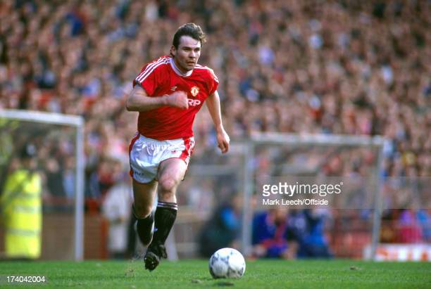23 March 1991 Football League Division One Manchester United v Luton Town United striker Brian McClair runs with the ball