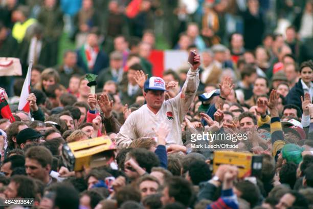 7 March 1992 5 Nations Rugby England v Wales Brian Moore of England raises a hip flask to toast the fans as they celebrate a grand slam