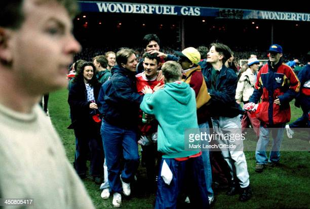 11 March 1992 Football League Cup semifinal Manchester United v Middlesbrough United fans invade the pitch to mob their hero Ryan Giggs
