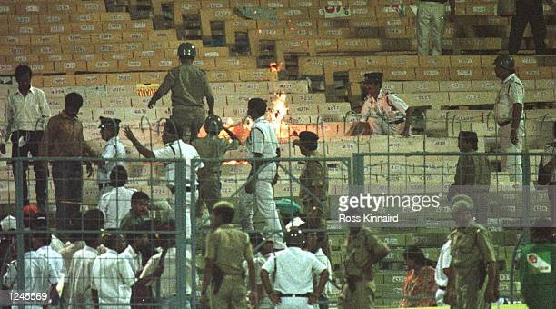 Fires burn in the stands during the semifinal in the Cricket World Cup between India and Sri Lanka played at Eden Gardens in Calcutta Mandatory...