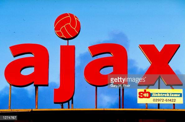 General view of the Ajax sign out side the stadium in Amsterdam Holland Mandatory Credit Gary M Prior/Allsport