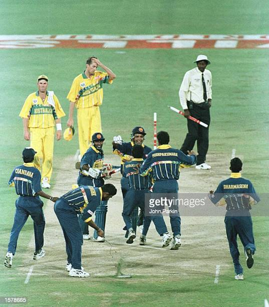 Sri Lanka captain Arjuna Ranatunga celebrates with his team after winning the Cricket World Cup Final between Australia and Sri Lanka played at the...