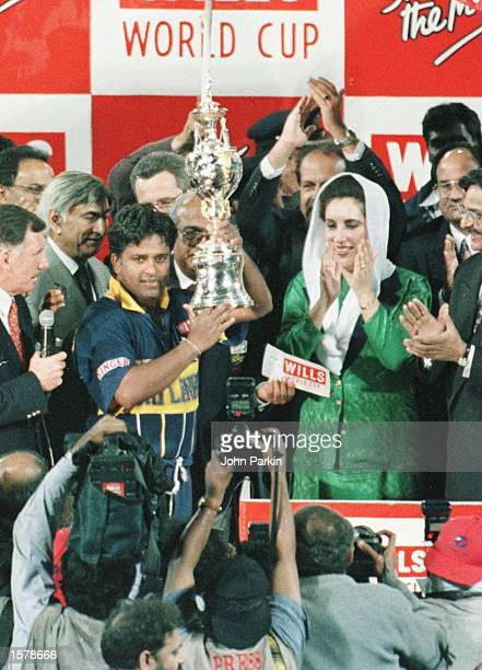 Sri Lanka captain Ranatunga celebrates with the trophy after winning the Cricket World Cup Final between Australia and Sri Lanka played at the...