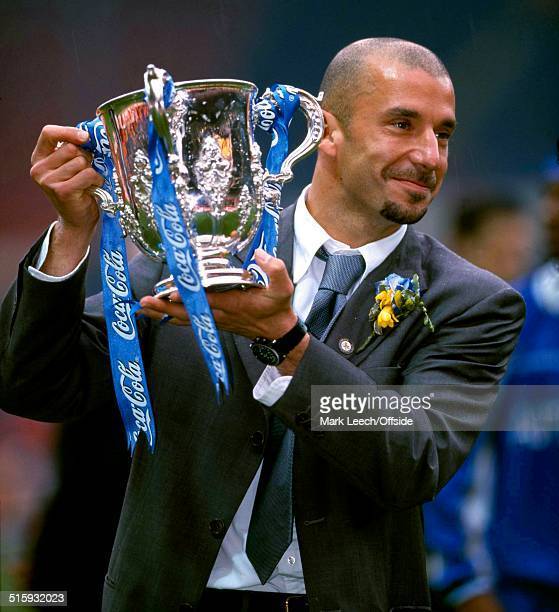 29 March 1998 Coca Cola Cup Final Chelsea v Middlesbrough Chelsea manager Gianluca Vialli holds up the League Cup