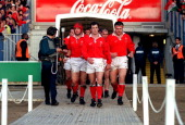 07 March 1998 Five Nations Rugby Wales v Scotland Wales Captain Rob Howley leads the team out of the tunnel
