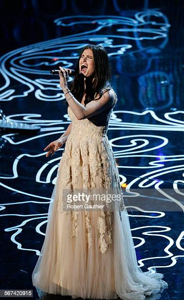HOLLYWOOD CA March 2 2014 Idina Menzel performs sings 'Let It Go' from the animated movie Frozen during the telecast of the 86th Annual Academy...