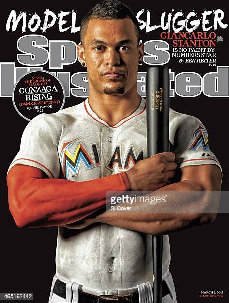 Baseball Portrait of Miami Marlins outfielder Giancarlo Stanton wearing bodypaint version of his jersey during photo shoot at Glasshaus Studio Body...