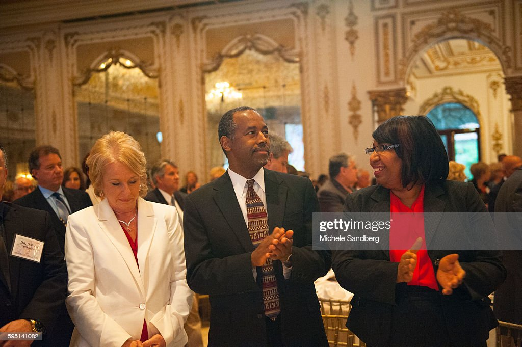 Dr Ben and Candy Carson Keynote Speaker Donald Trump with guest Dr Ben Carson attend the Palm Beach Lincoln Day Dinner at MaraLago Palm Beach Florida
