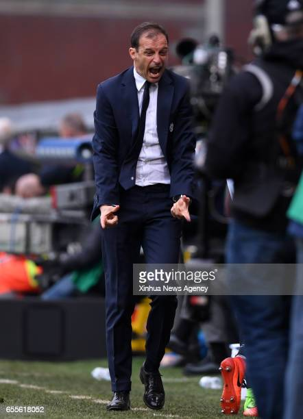 GENOVA March 20 2017 Juventus' head coach Massimiliano Allegri gestures during the Italian Serie A soccer match between Juventus and Sampdoria in...