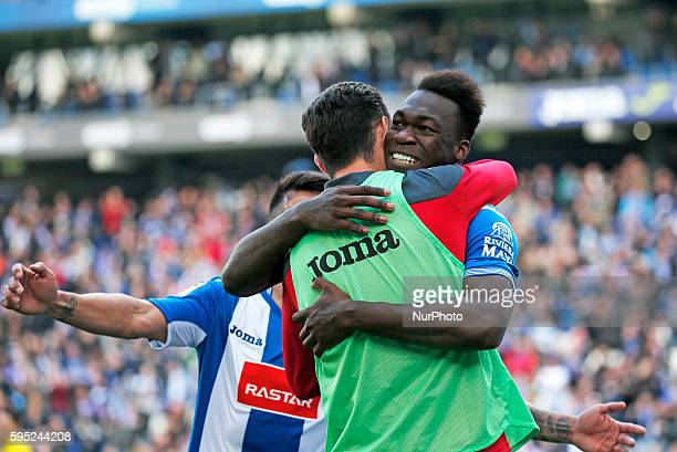 Felipe Caicedo and Burgui celebration during the match between FC Barcelona and Athletic Club corresponding to the week 30 of the spanish league...